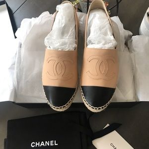Beige and Black Chanel Espadrilles